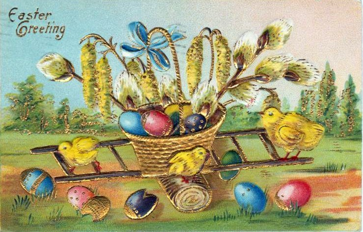 Vintage Easter postcard with chicks from 1909
