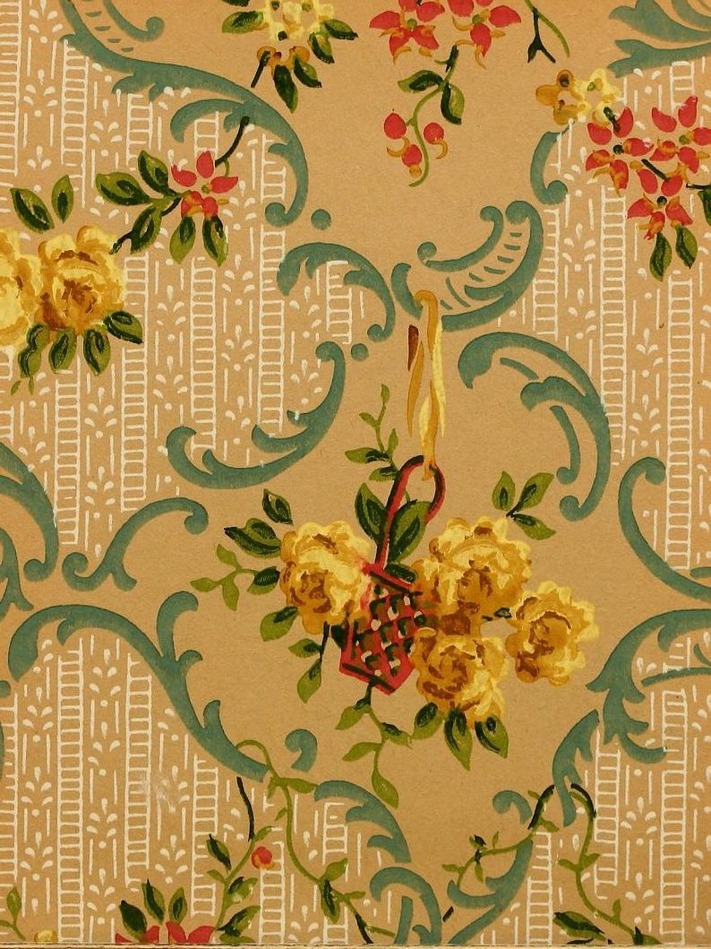 Vintage Edwardian wallpaper samples from 1906 (23)