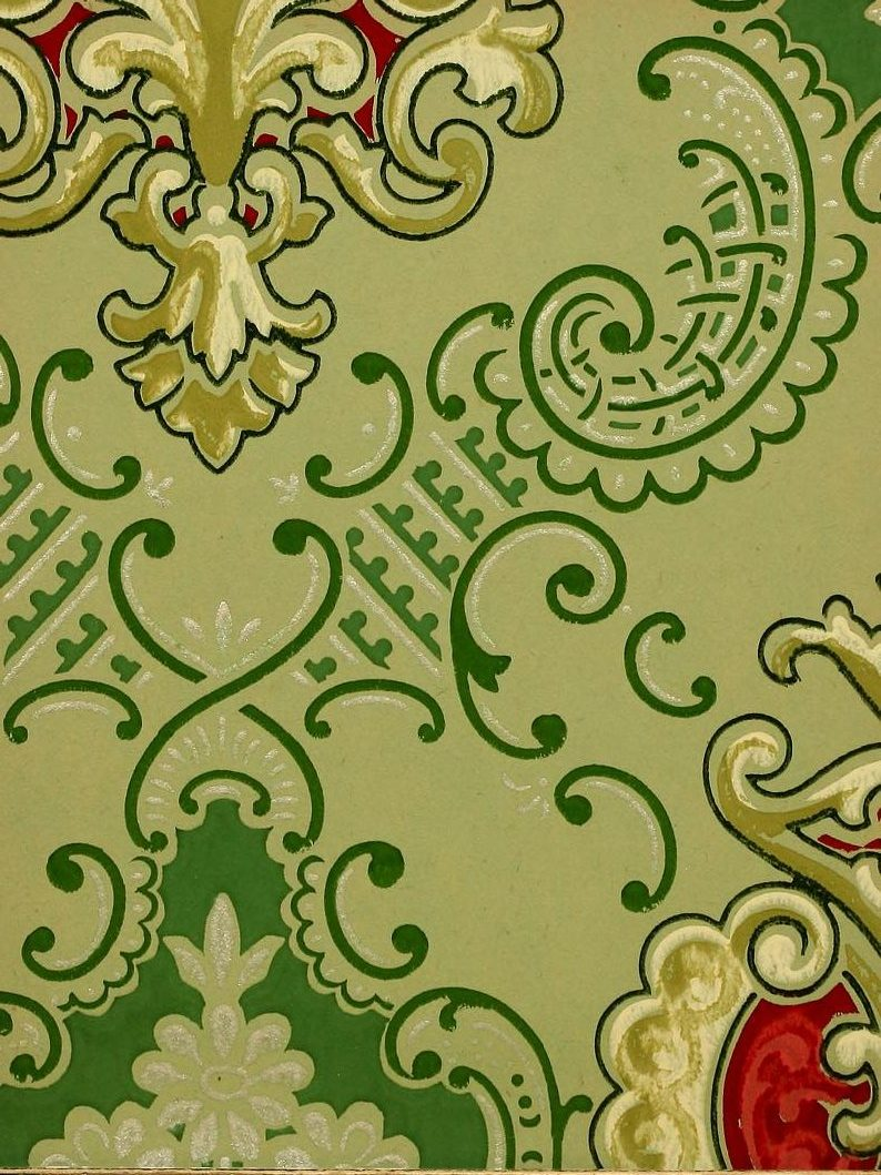 Vintage Edwardian wallpaper samples from 1906 (25)