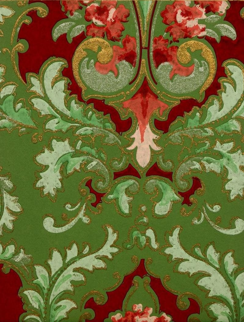 Vintage Edwardian wallpaper samples from 1906 (3)
