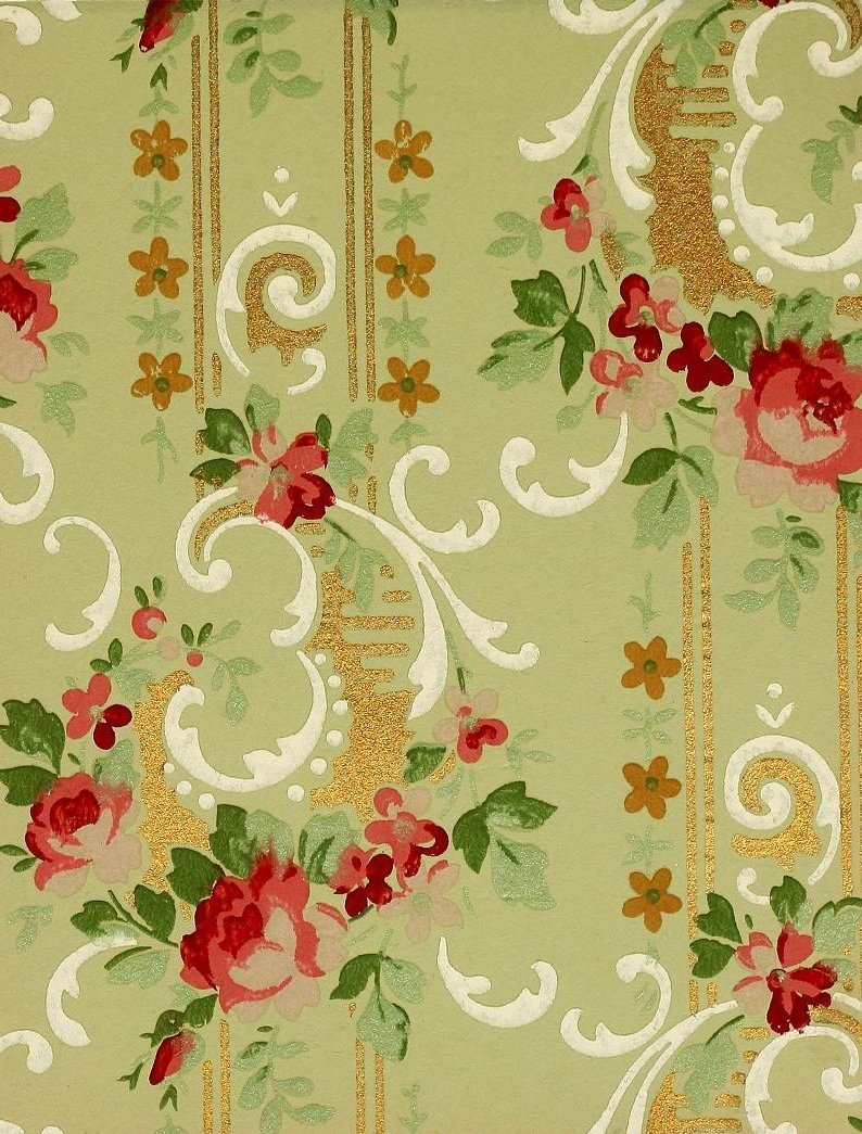 Vintage Edwardian wallpaper samples from 1906 (33)