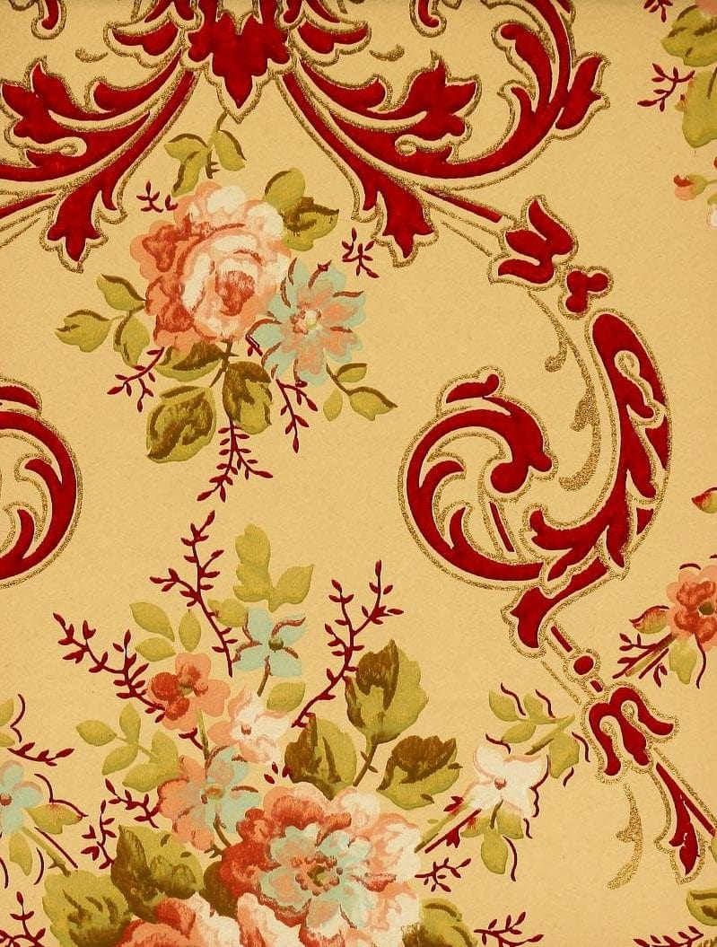 Vintage Edwardian wallpaper samples from 1906 (4)