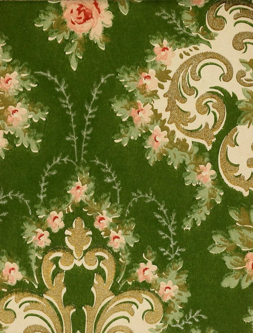 Vintage Edwardian wallpaper samples from 1906 (8)