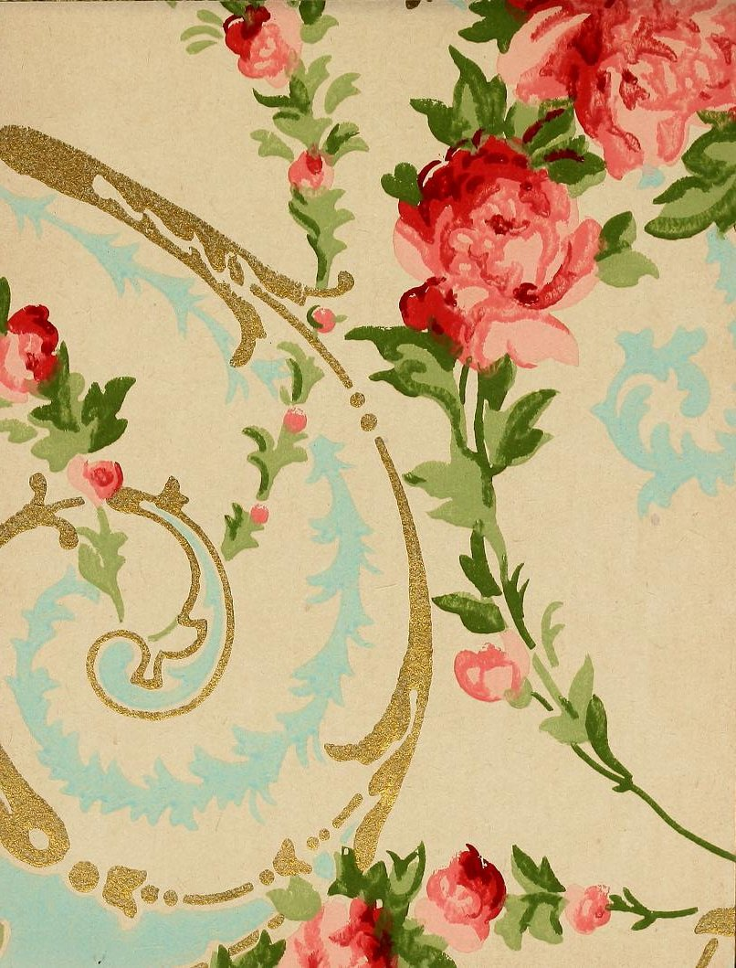 Vintage Edwardian wallpaper samples from 1906 (9)