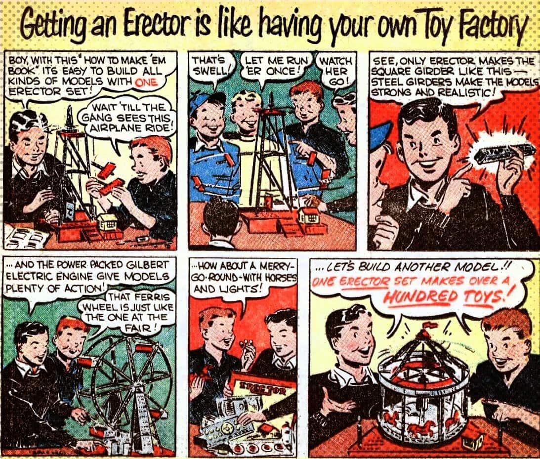 Vintage Erector Set comic section ad c1960s