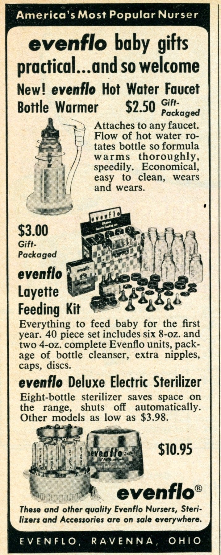 Vintage Evenflo baby bottle gifts from 1958