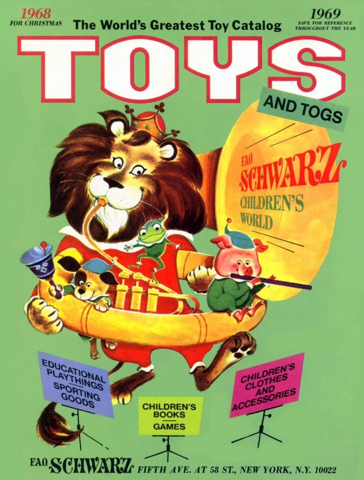 Vintage FAO Schwarz toy catalog cover from 1968-1969