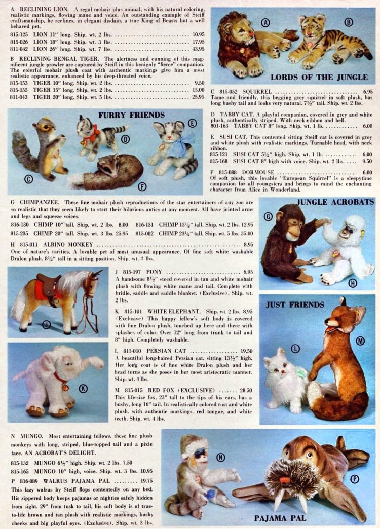 Vintage FAO Schwarz toy catalog - Animal toys 1967