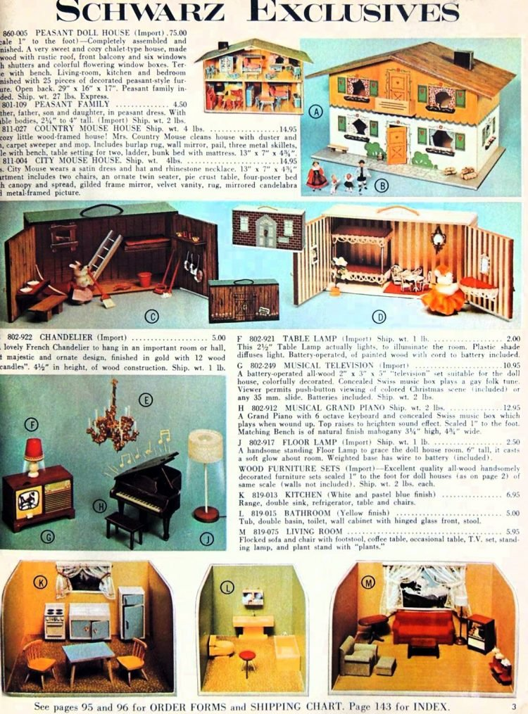 Vintage FAO Schwarz toy catalog - Dollhouses from 1966-1967