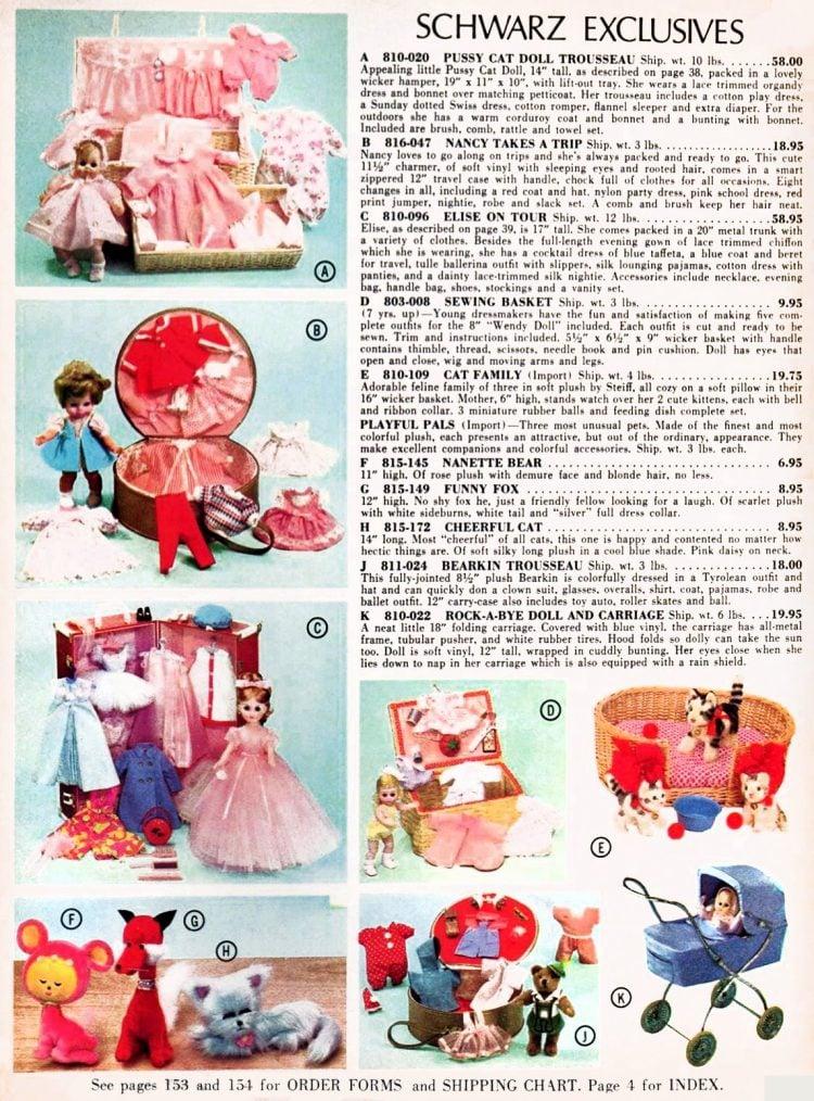 Vintage FAO Schwarz toy dolls and accessories 1967