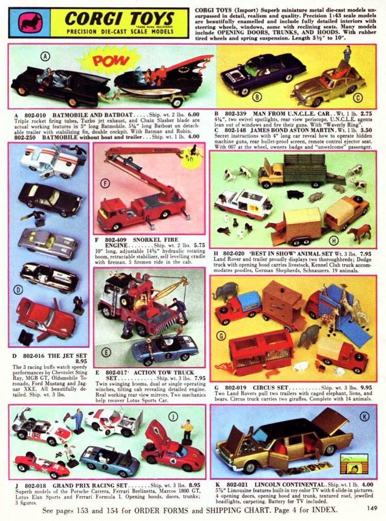 Vintage FAO Schwarz toys 1967 - Corgi toy models