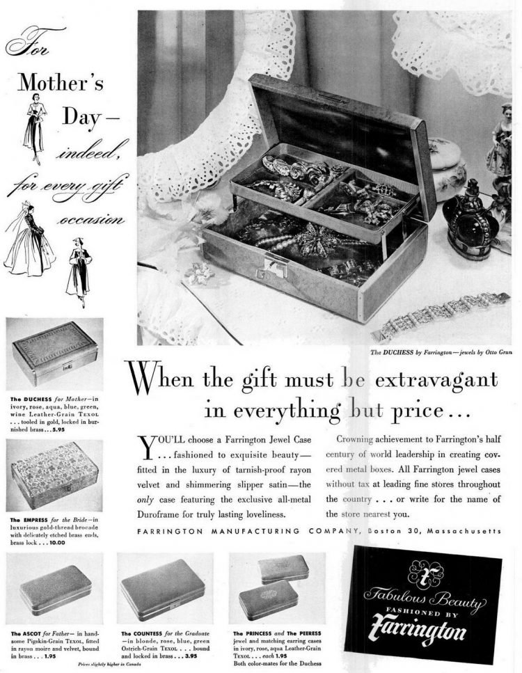 Vintage Farrington jewelry box case from 1949