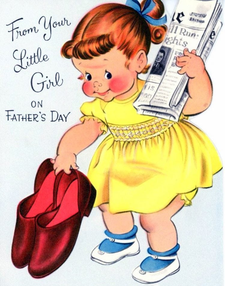 Vintage Father's Day cards - From your little girl