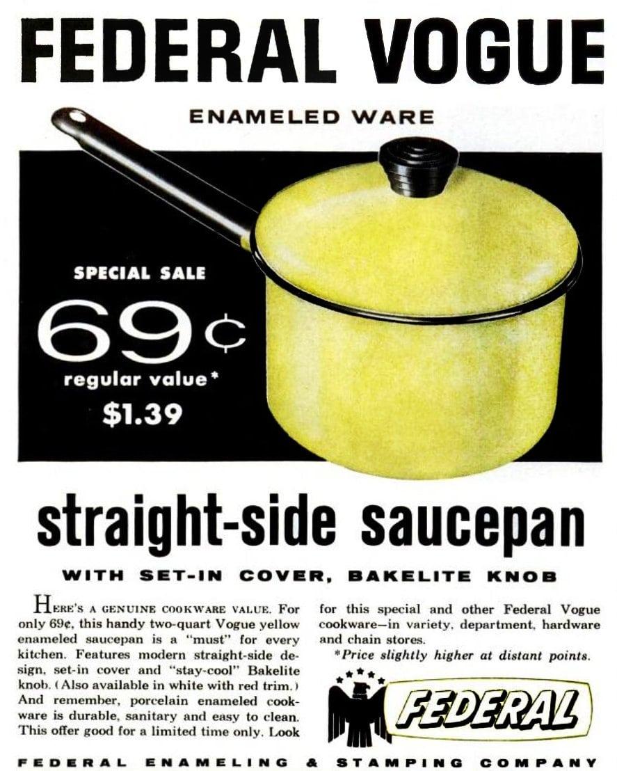 Vintage Federal Vogue straight-side saucepan (1958)