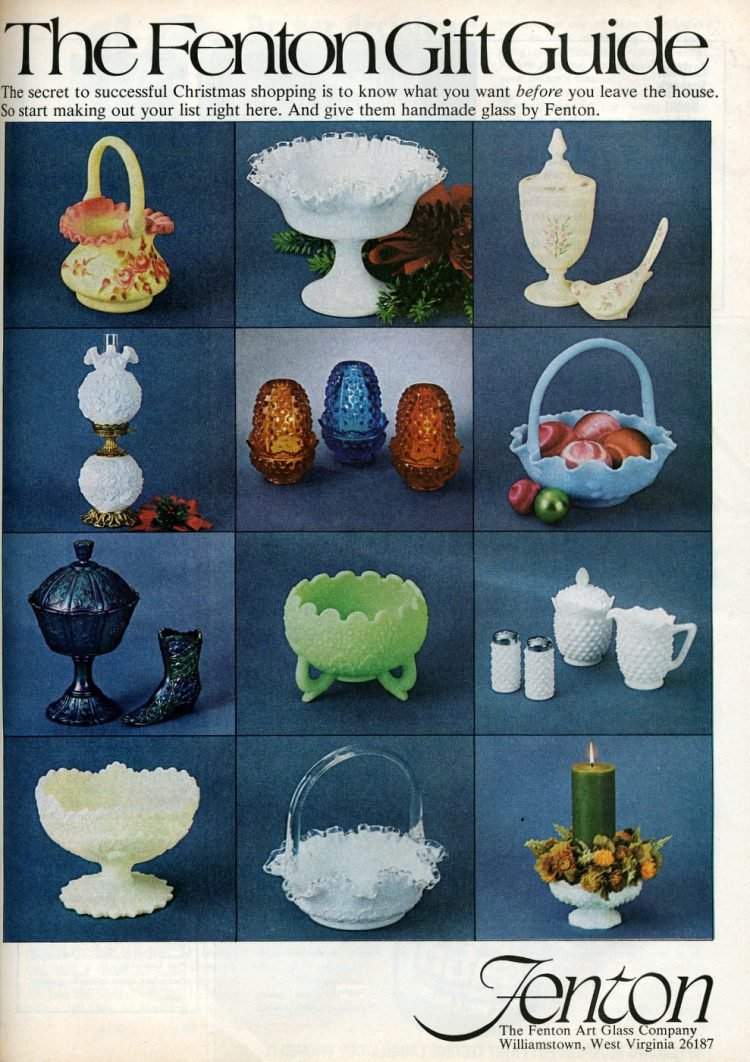 Vintage Fenton glass gift guide (1974)