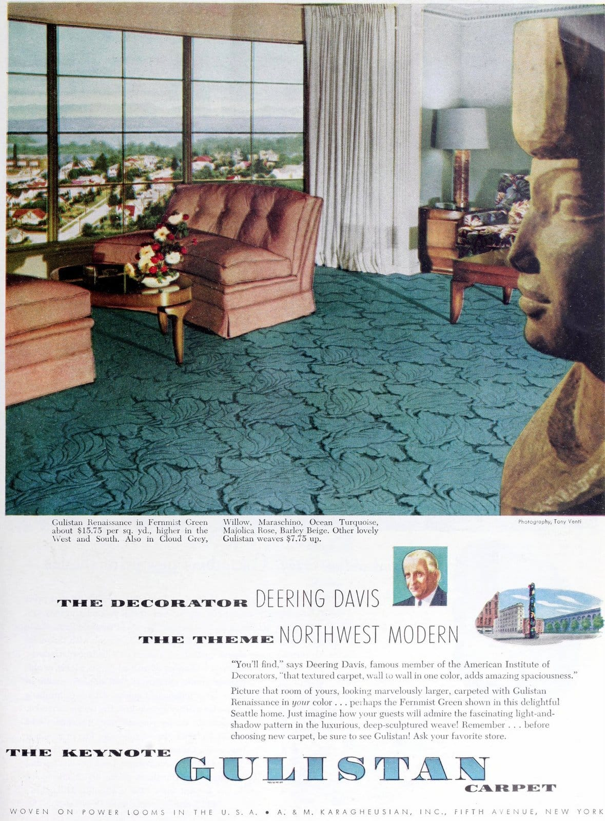 Vintage Fernmist Green leaf-pattern carpet (1949)