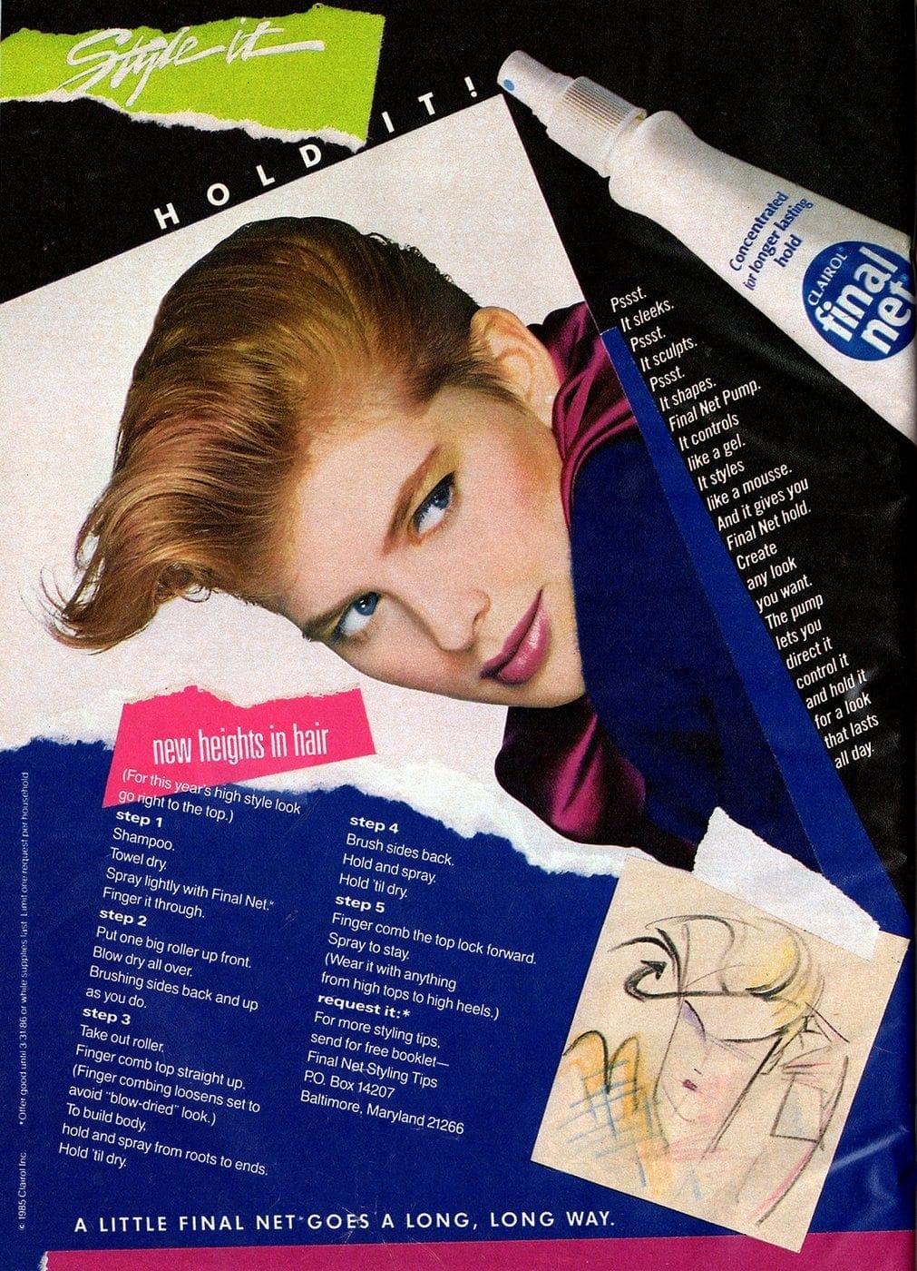 Vintage Final Net hairspray - August 1985