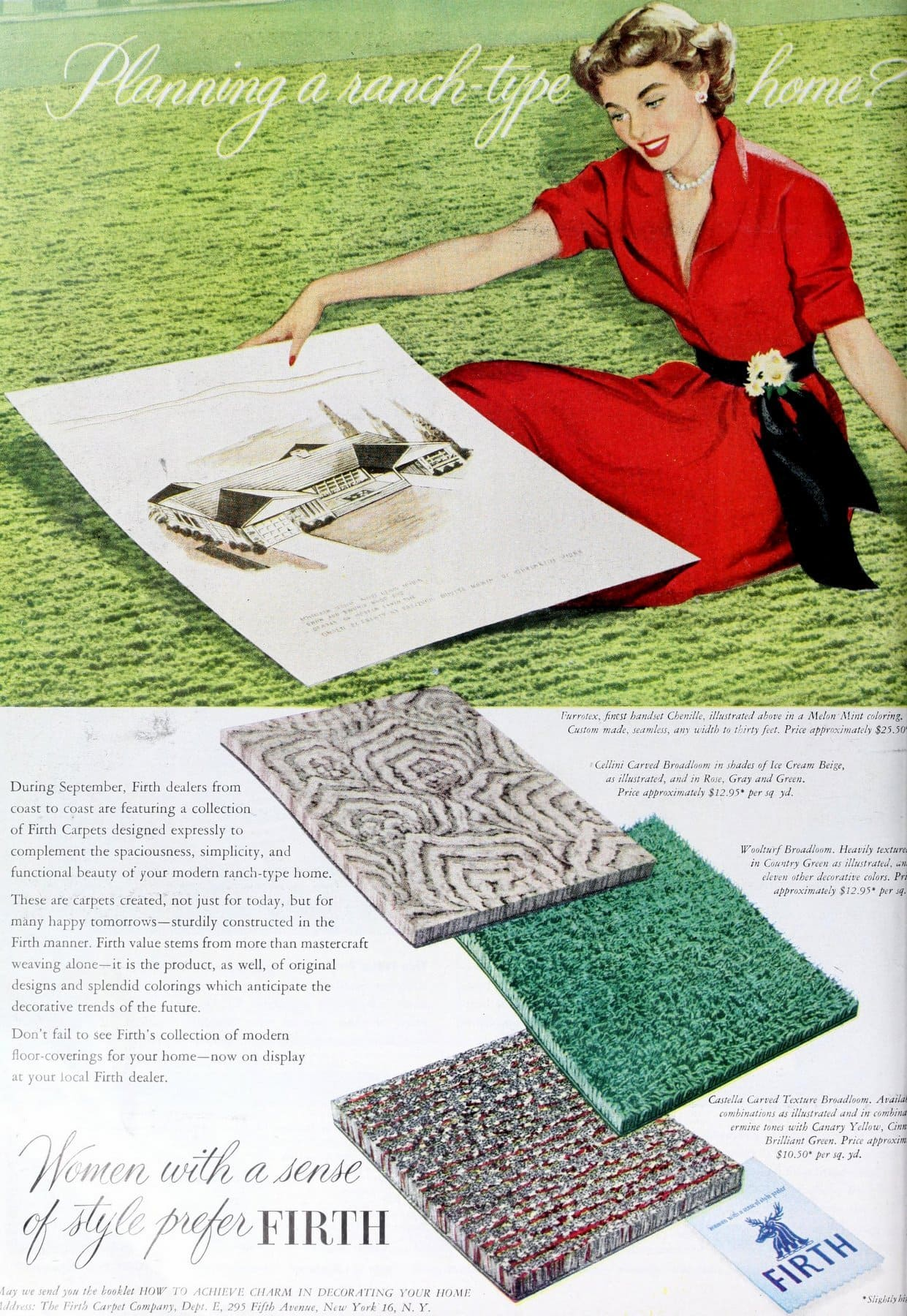 Vintage Firth sculpted and textured carpet (1950)