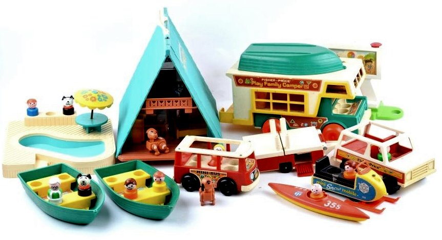 Vintage Fisher Price A-Frame dollhouse set with bus and boats and camping