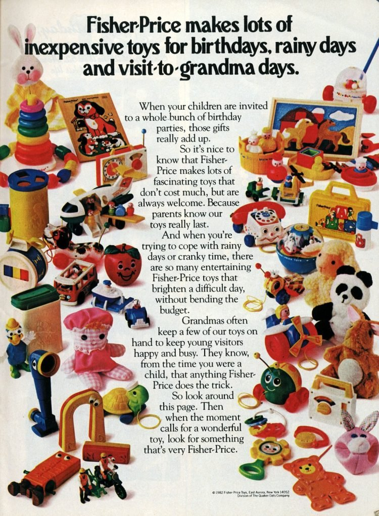 Vintage Fisher-Price baby toys from 1982