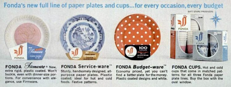 Vintage Fonda papr plates from 1964