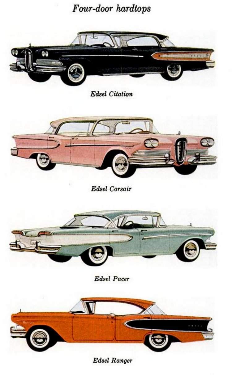 Vintage Ford Edsel four-door hardtops from 1957-1958