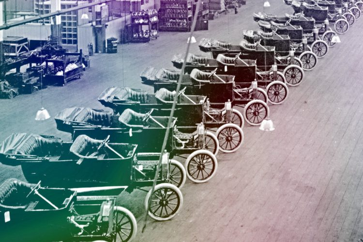 Vintage Motor Car factory cars - Ford assembly lines