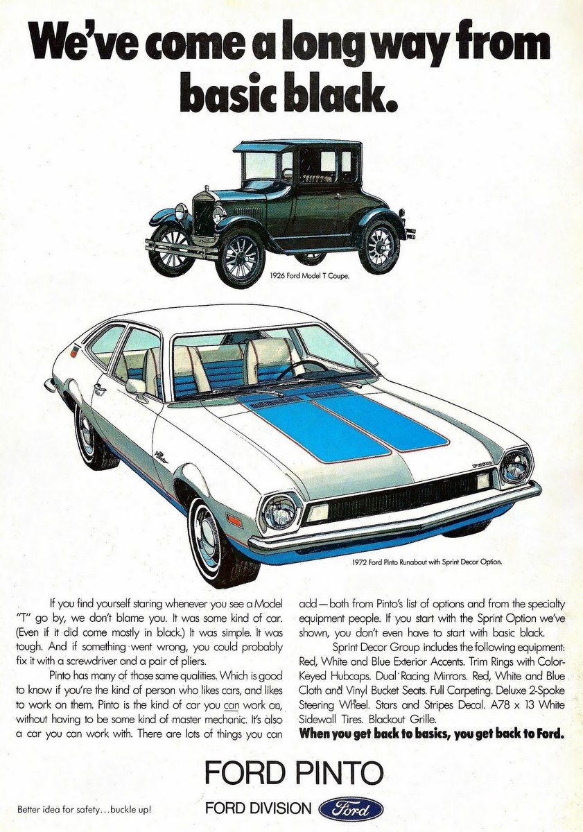 Vintage Ford Pinto cars for 1972