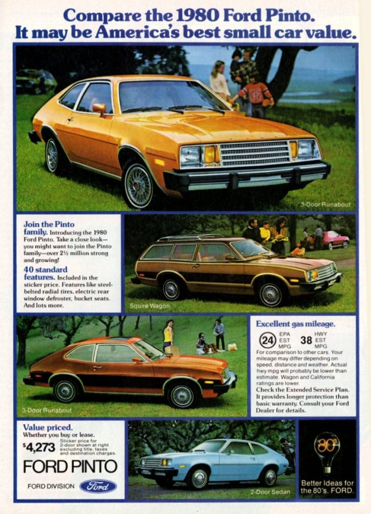Vintage Ford Pintos from 1980