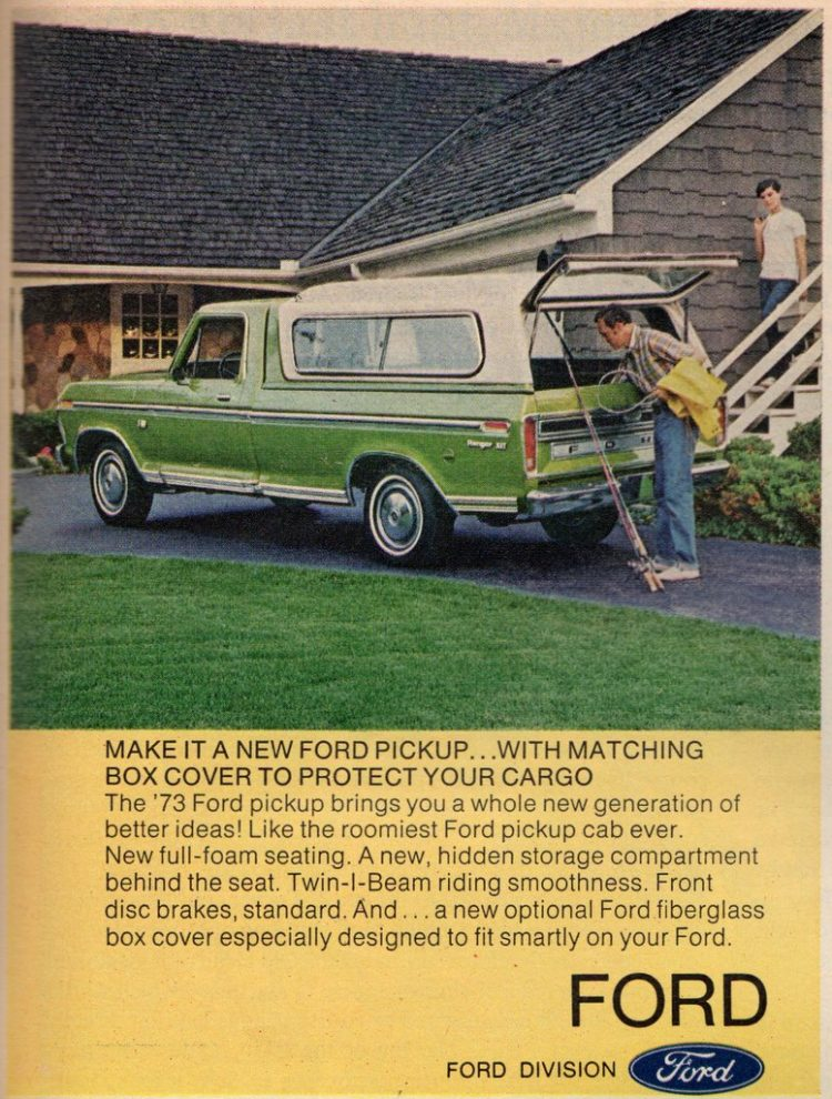 Vintage Ford pickup truck with camper shell - 1970s