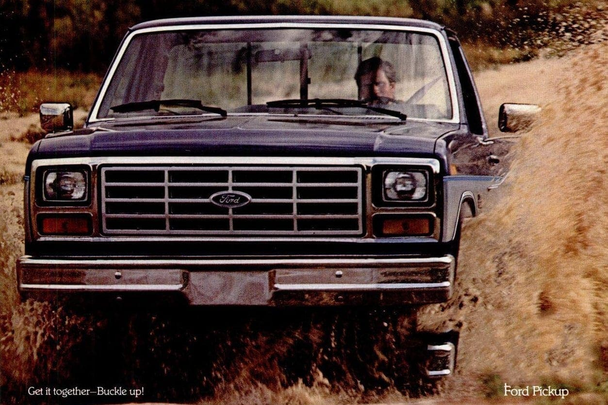 Vintage Ford pickup trucks from the 80s