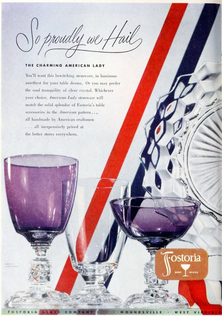 Vintage Fostoria Charming American Lady purple glass stemware from 1950