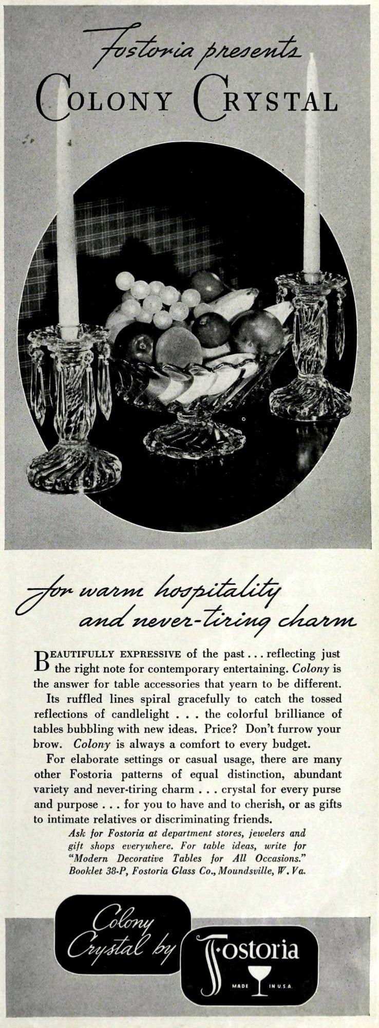 Vintage Fostoria Colony Crystal (1938)