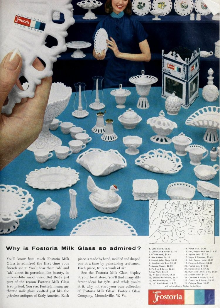 Vintage Fostoria Milk Glass from the late 1950s (1)