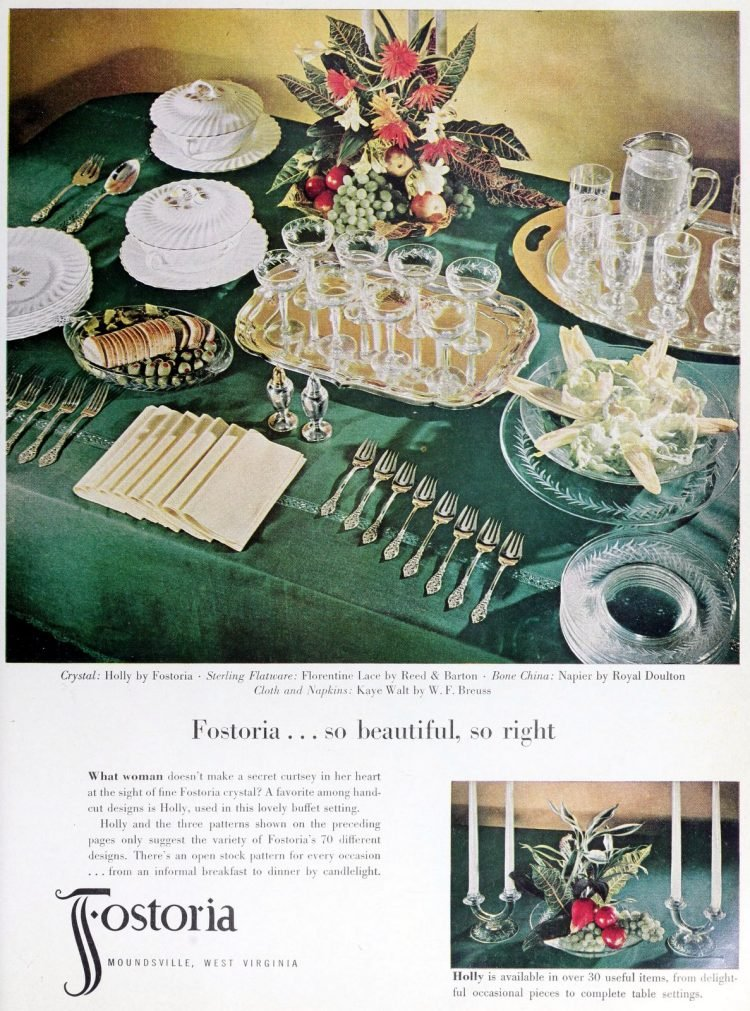 Vintage Fostoria clear glassware for a party (1952)