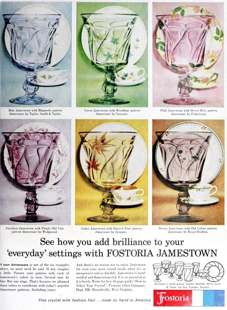 Vintage Fostorial Jamestown colored glassware from 1962