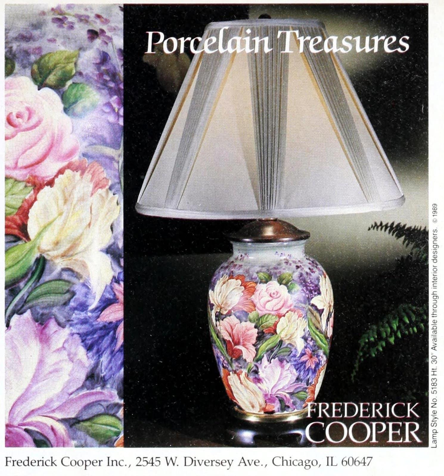 Vintage Frederick Cooper floral porcelain table lamp (1989)