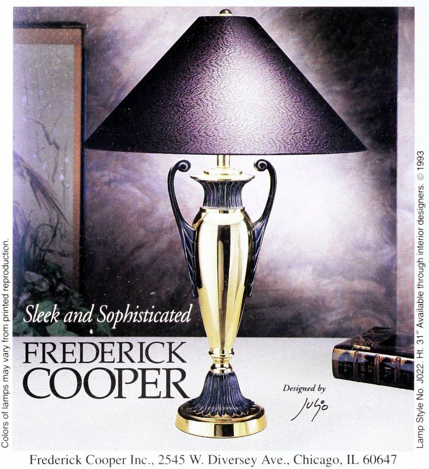 Vintage Frederick Cooper metal art nouveau table lamp (1993)