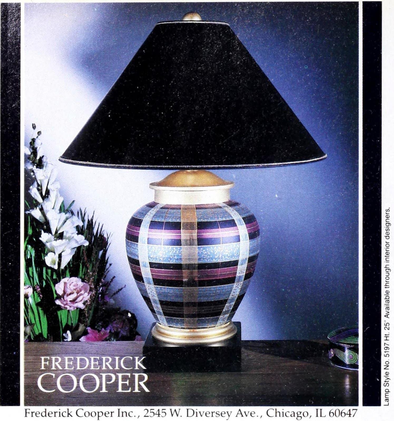 Vintage Frederick Cooper plaid-effect designer table lamp (1989)