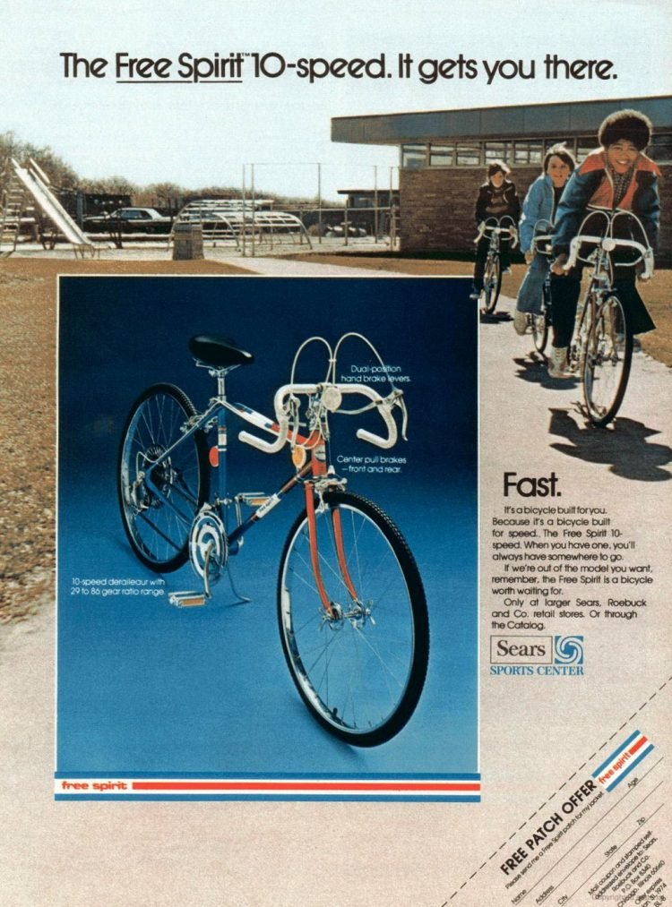 Vintage Free Spirit 10 speed bikes from 1973