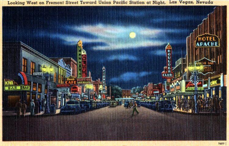 Vintage Fremont Street in old Las Vegas at night - 1940s