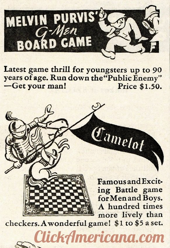 Vintage G Men and Camelot board games from 1936 - Parker Brothers