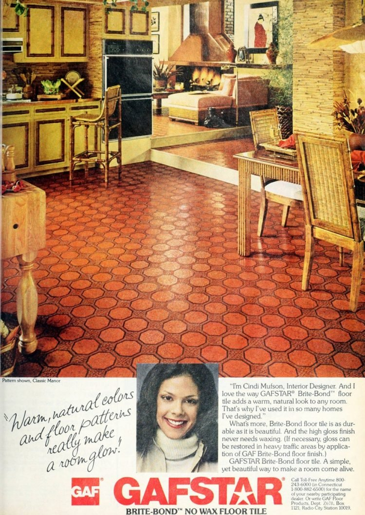 Vintage Gafstar Brite-Bond floor in Classic Manor pattern 1978