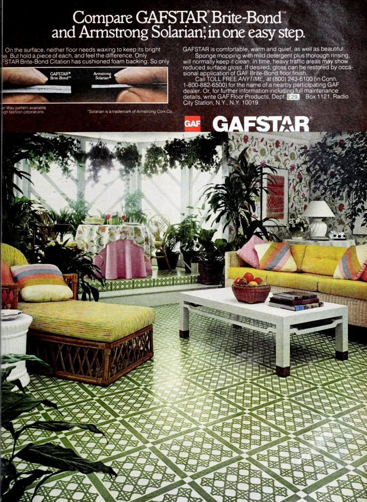 Vintage Gafstar home decor vinyl flooring from 70s and 80s - From ClickAmericana com