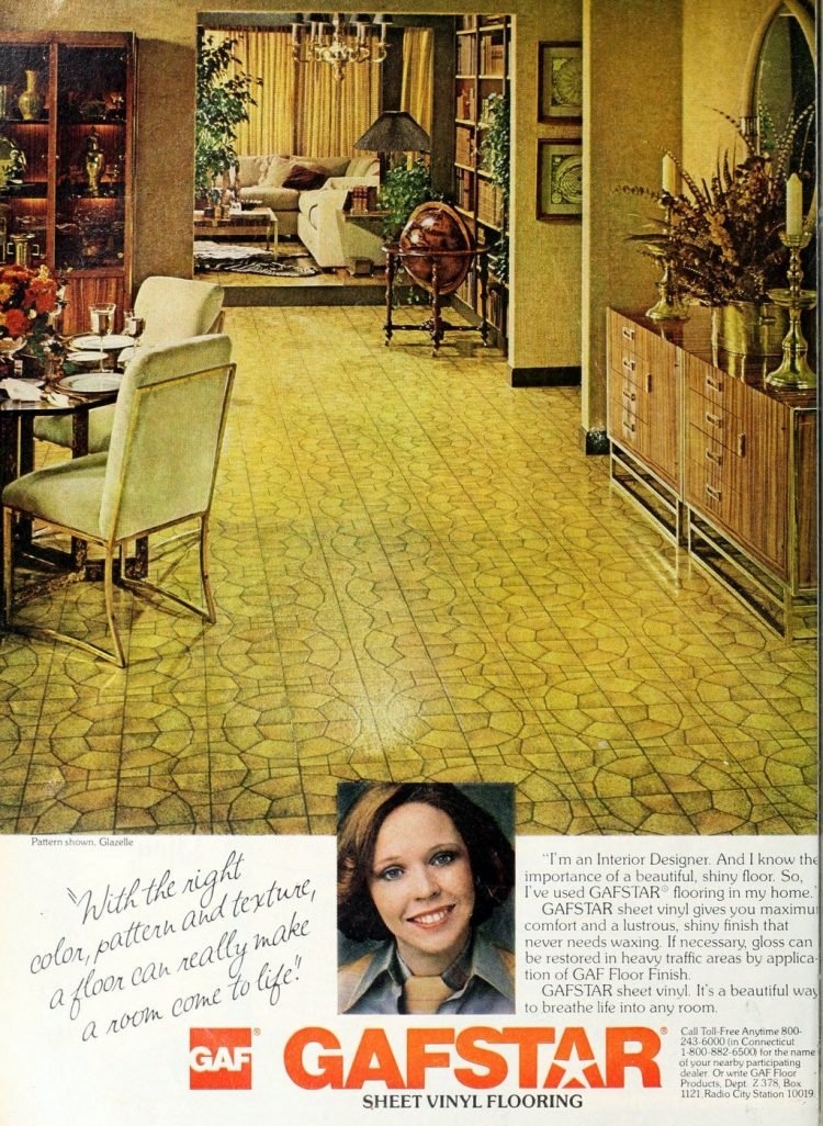 Vintage Gafstar sheet vinyl floor in Glazelle pattern 1978