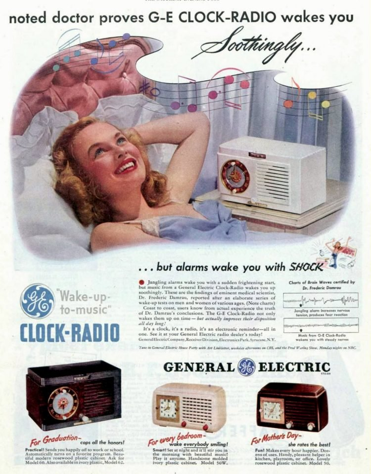 Vintage General Electric clock radio from the 1950s