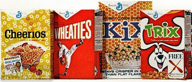 Vintage General Mills cereals - Trix Kix Wheaties Cheerios