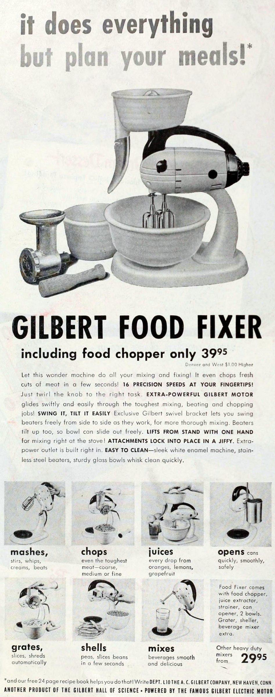 Vintage Gilbert Food Fixer machine (1949)