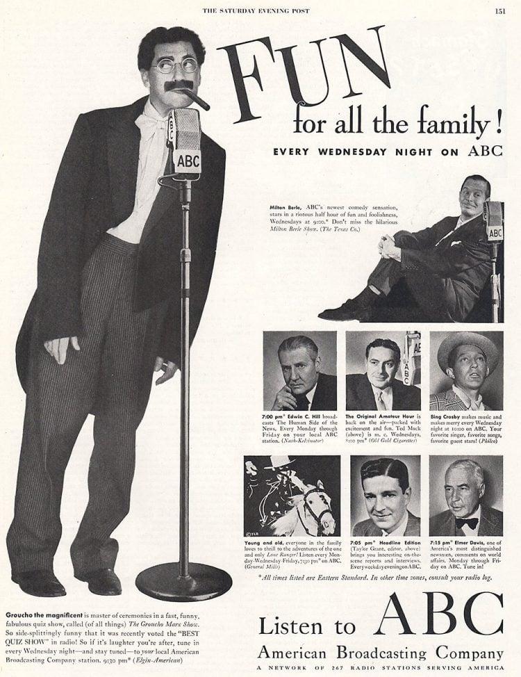 Vintage Groucho Marx ad for ABC radio
