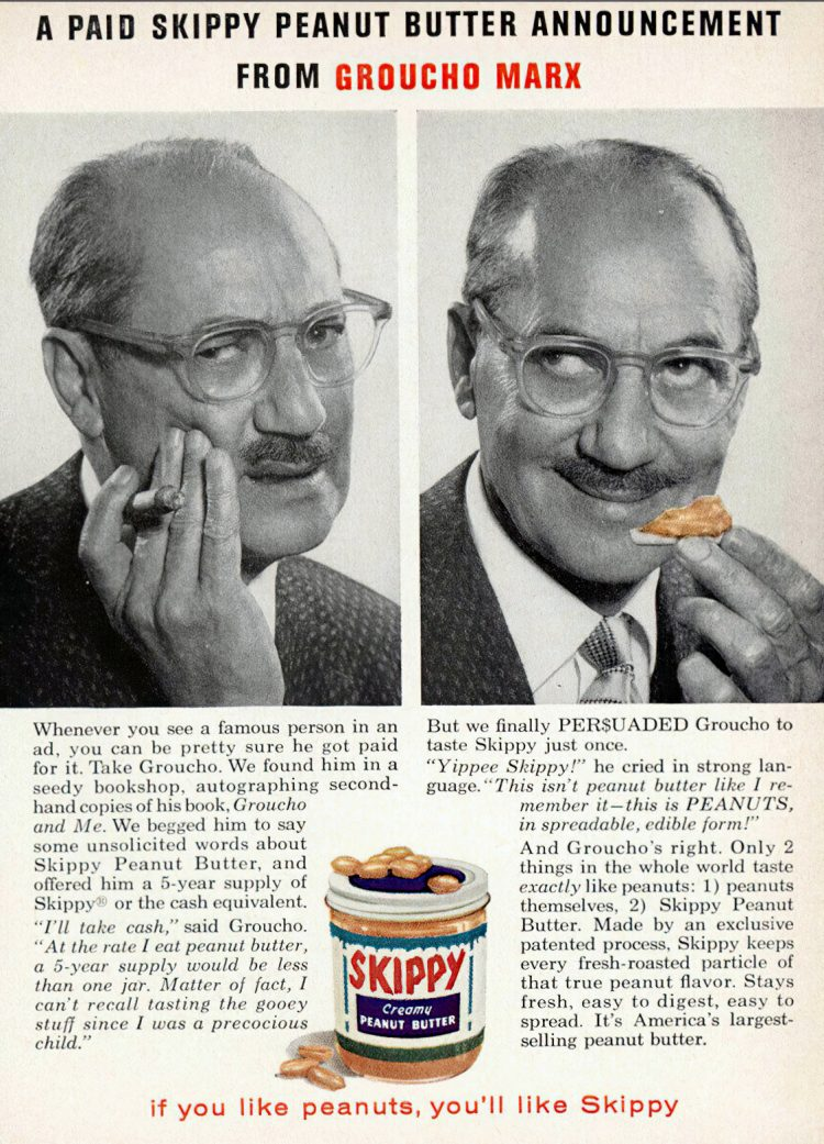 Vintage Groucho Marx ad for Skippy Peanut Butter 1960-gigapixel-width-1600px
